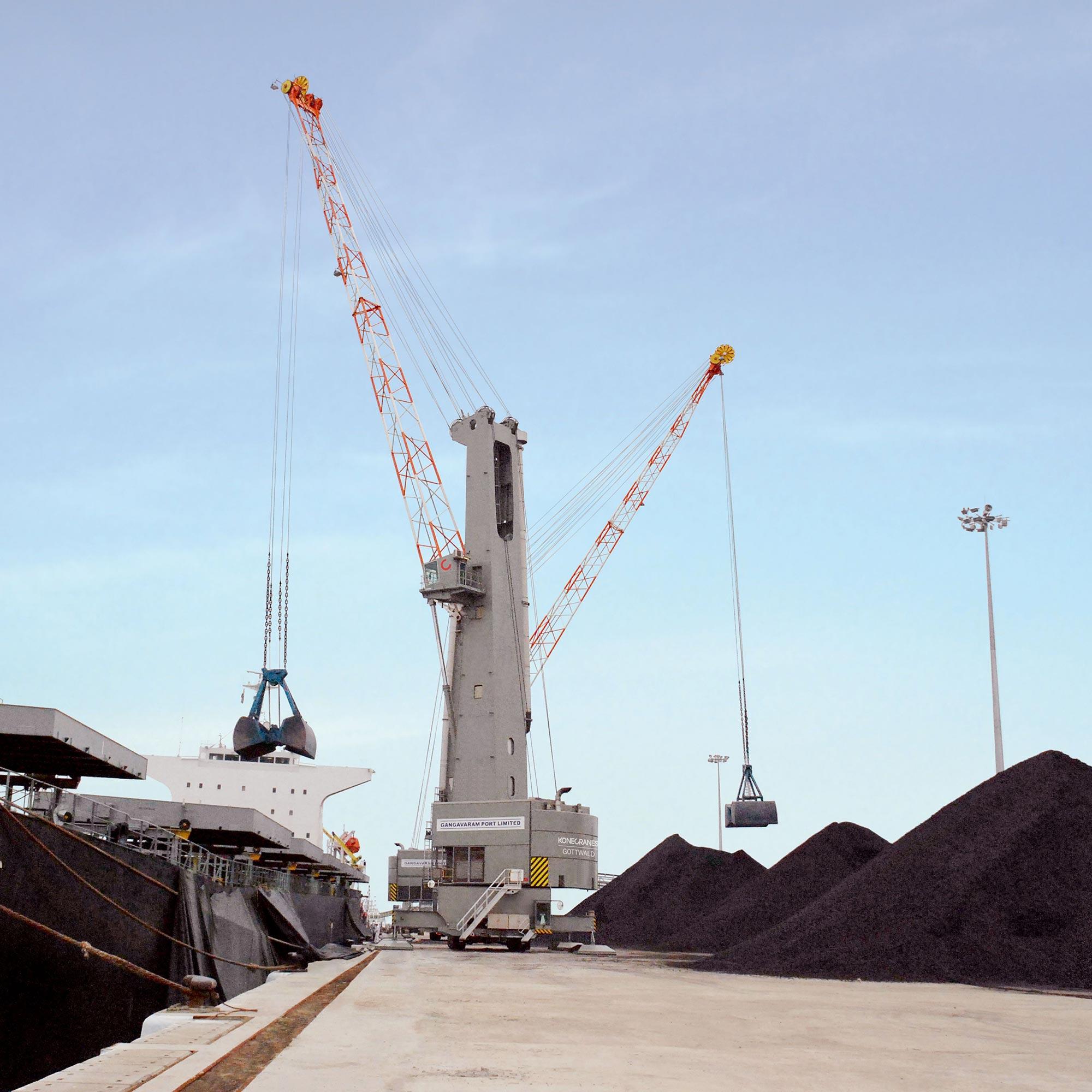 Konecranes Gottwald mobile harbor crane MHC bulk handling grab mode