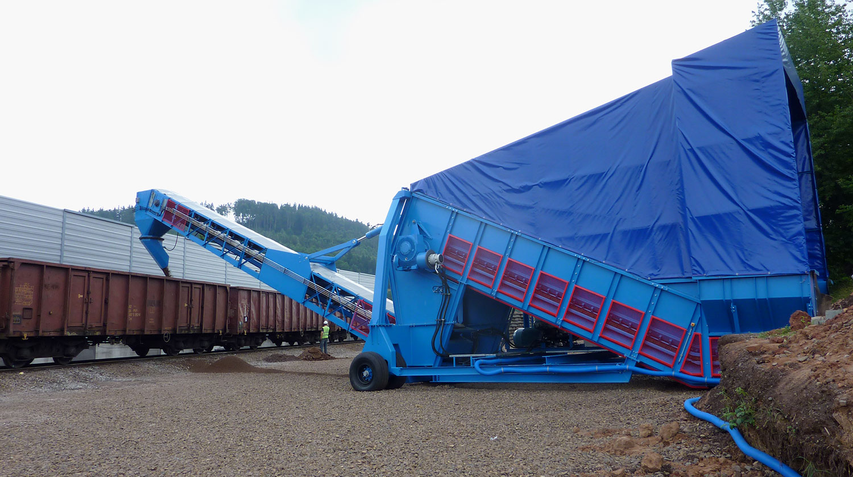 MHM SAMSON bulk material handling rail car loading
